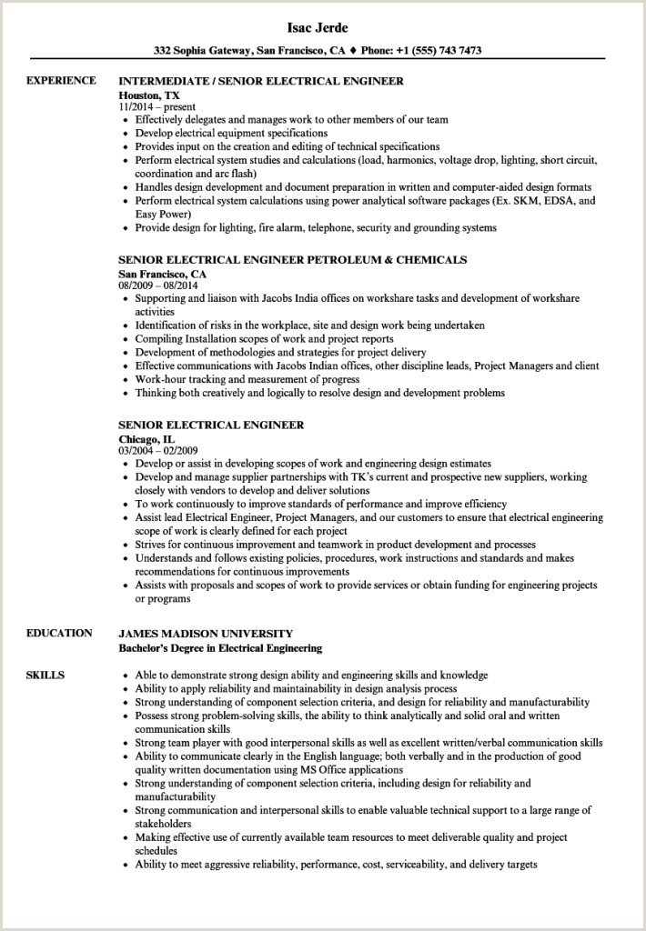Fresher Resume format for Testing Electrical Engineering Resume Template Valera Test Engineer