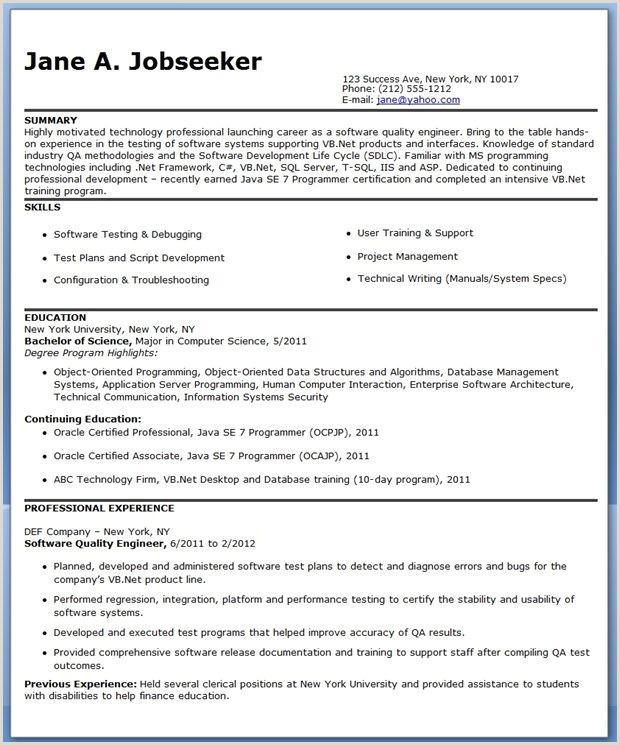 Fresher Resume format for Ui Developer Quality Engineer 3 Resume format
