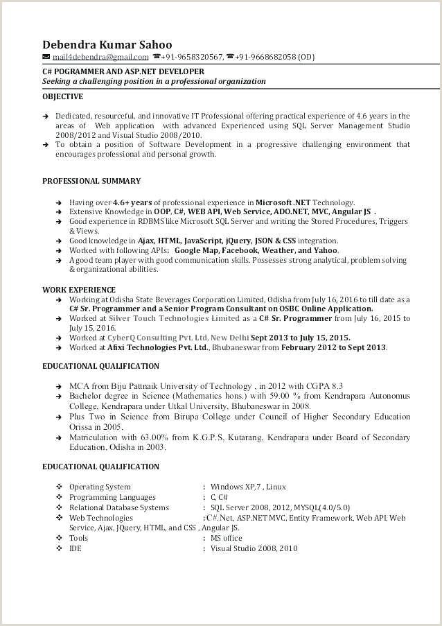 Fresher Resume format for Ui Developer Web Developer Resume Download Ui Template Experience format