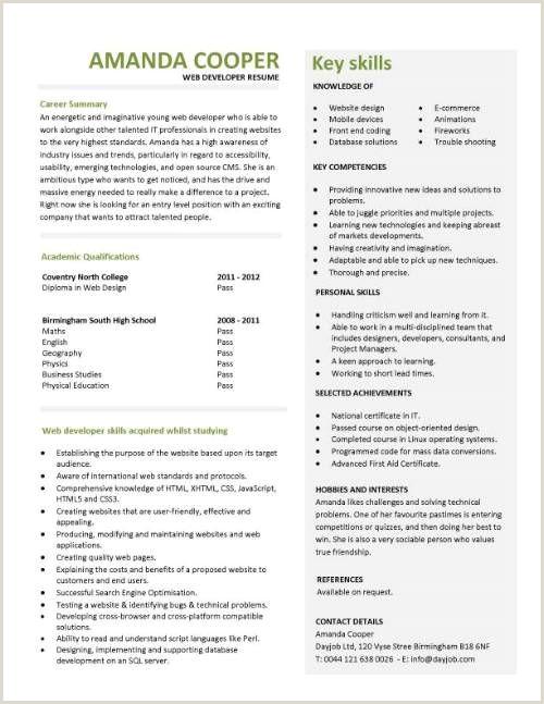 Fresher Resume Format For Web Developer Entry Level Web Developer Resume Template