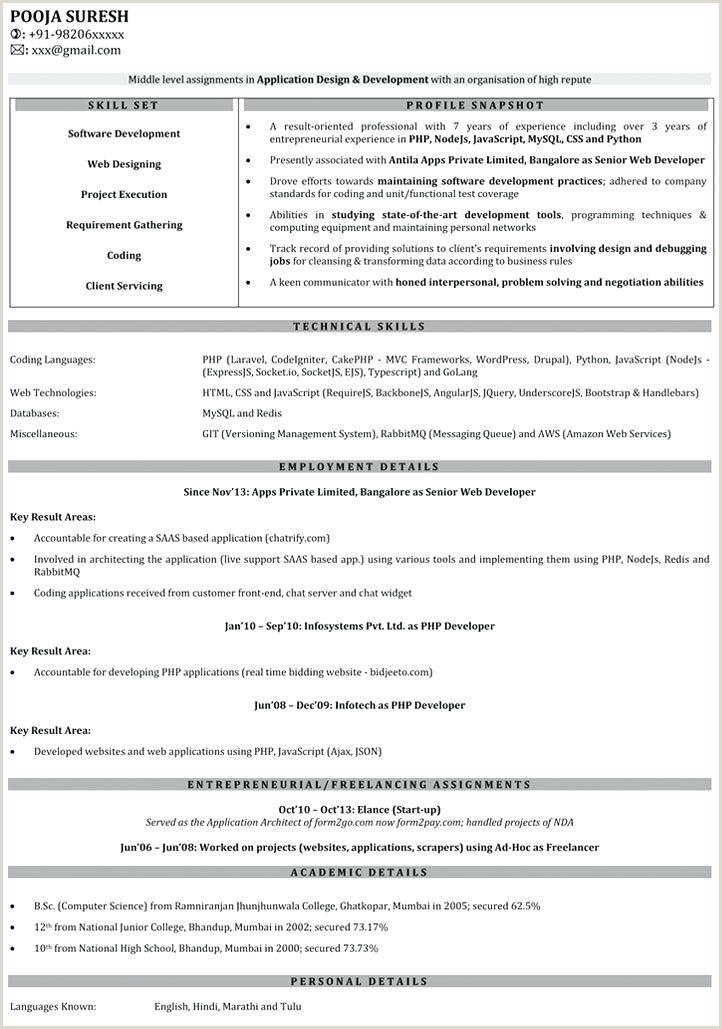 Fresher Resume Format For Web Developer Fresher Resume Sample For Software Engineer – Newskeyfo