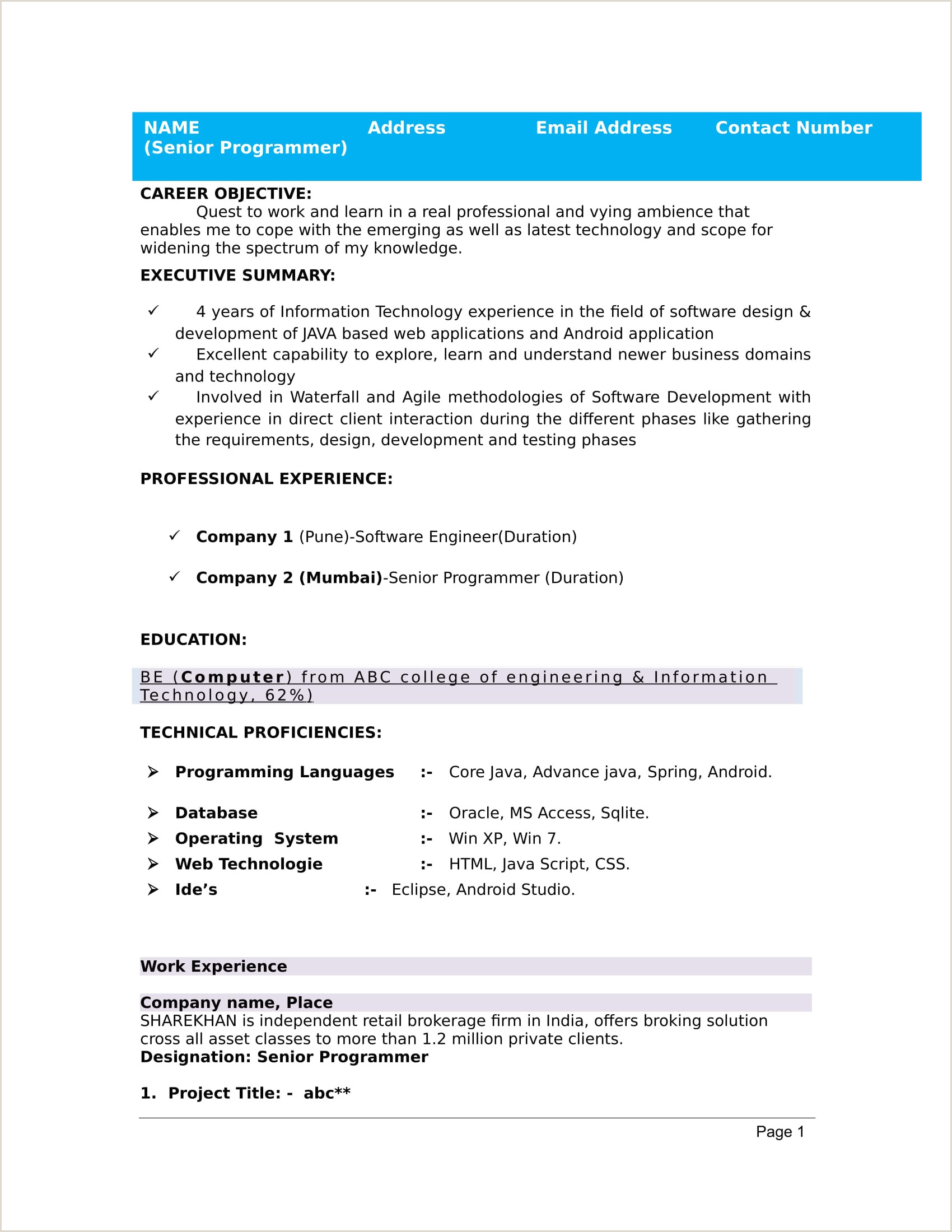 Fresher Resume format Free Download 32 Resume Templates for Freshers Download Free Word format