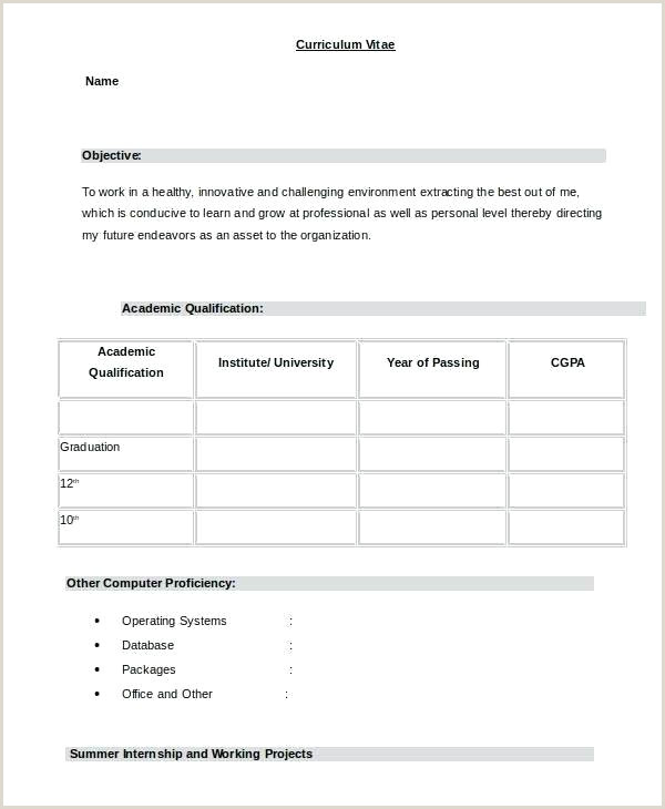 Fresher Resume format Free Download Sample Resume In Word format – Hotwiresite