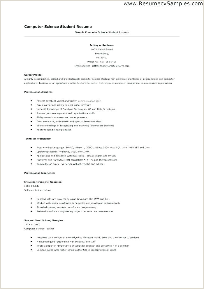 Fresher Resume Format In Doc Puter Science Cv Template Doc – Medpages