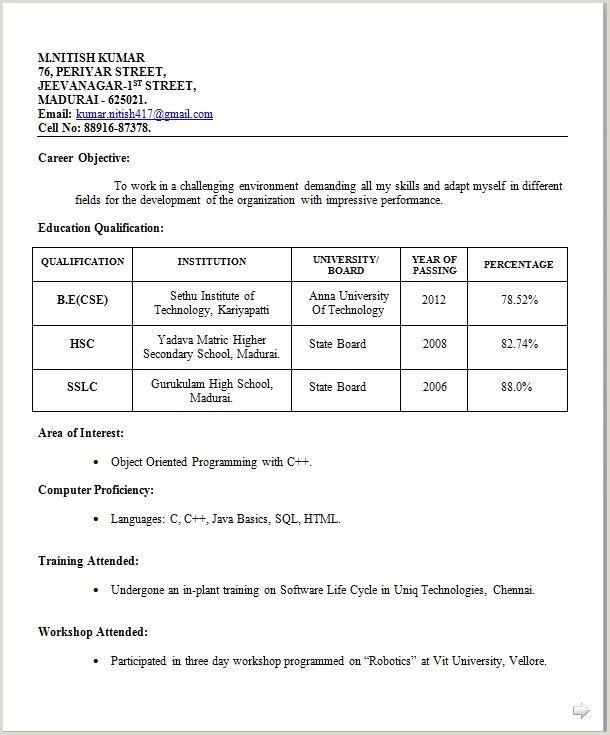 Fresher Resume Format In Excel Image Result For Simple Biodata Format For Job Fresher