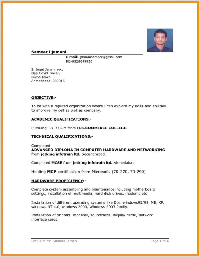 Fresher Resume format In Word Download Simple Resume format In Word Free Download Resume Resume