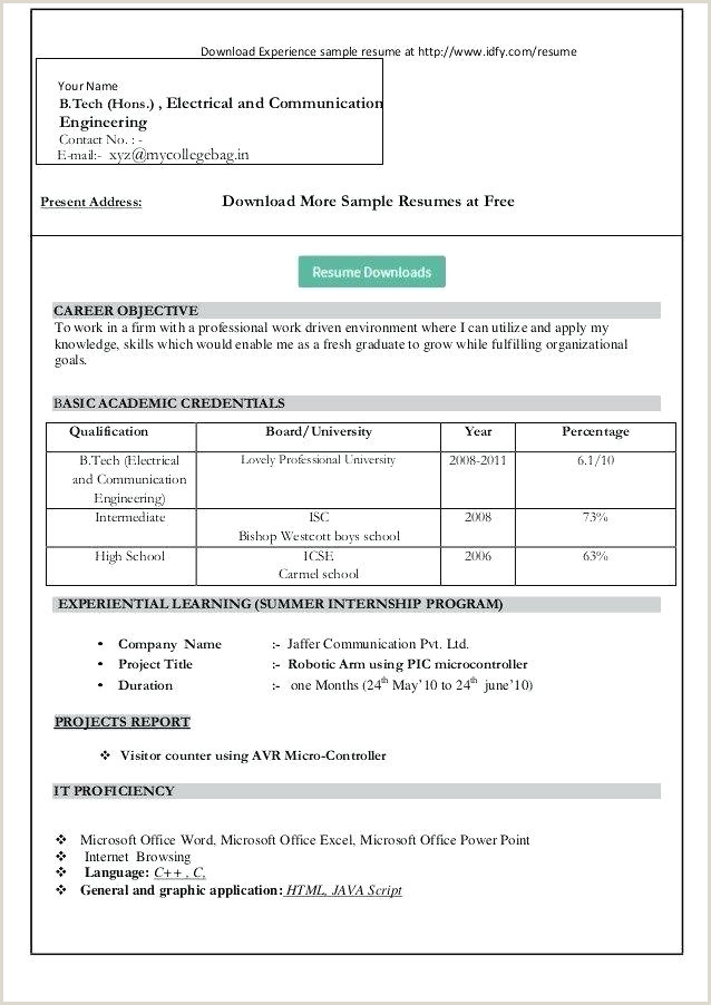 Fresher Resume Format In Word Free Download Simple Resume Format For Freshers – Wikirian