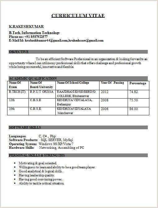 Fresher Resume Format In Word It Engineer Fresher Resume Kundan