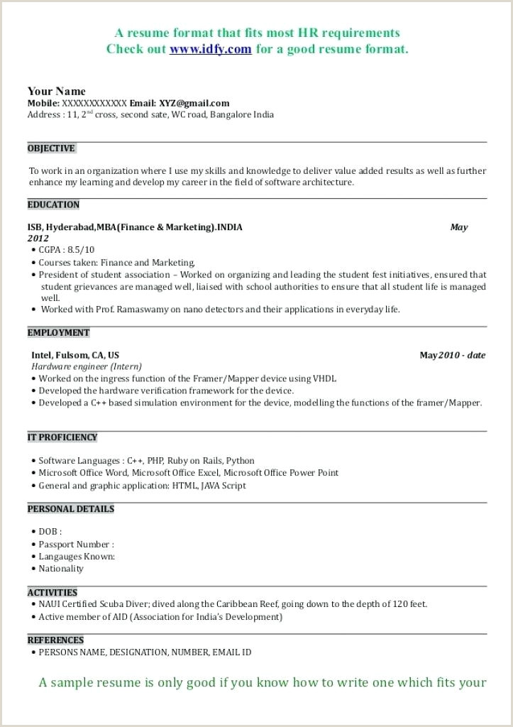 Fresher Resume format India Good Resume Templates for Freshers – Hayatussahabah