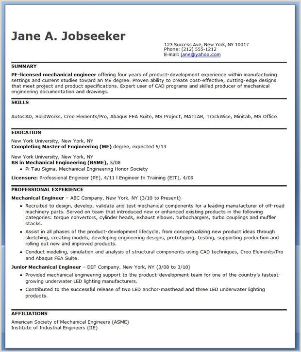 Fresher Resume format Mechanical Engineer Pdf Mechanical Engineering Resume Sample Pdf Experienced