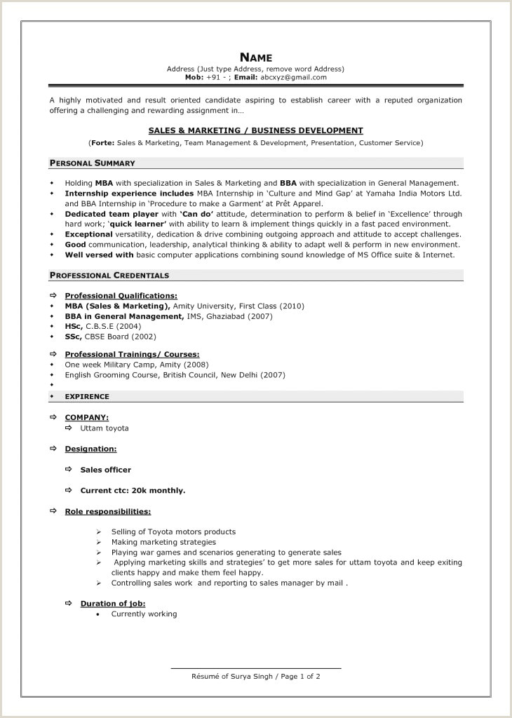Fresher Resume format Mechanical Engineer Pdf Professional Fresher Resume
