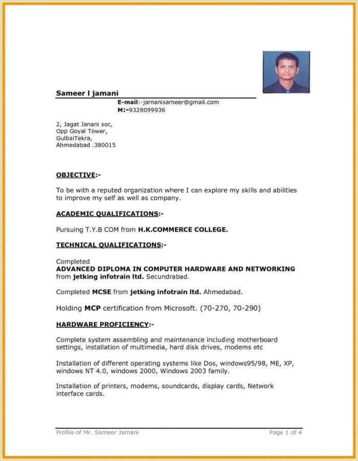 Fresher Resume Format Ms Word Simple Resume Format In Word Free Download Resume Resume