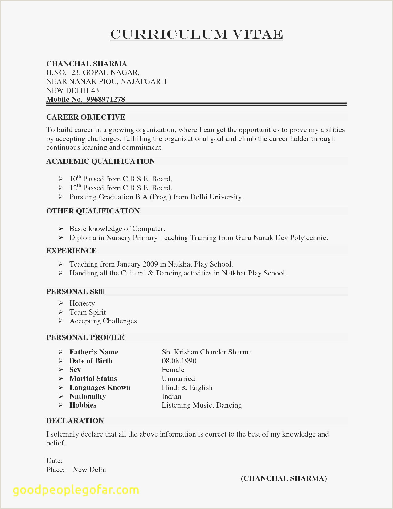 Fresher Resume Format Objective B E Freshers Resume Sample – Kizi Games