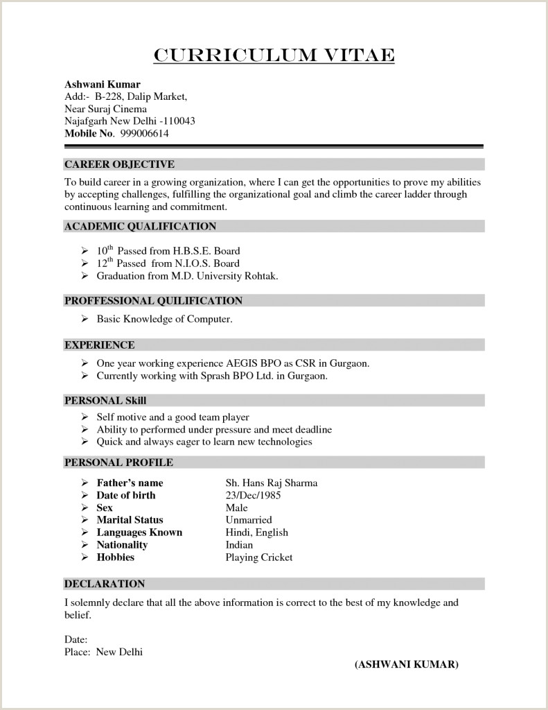 Fresher Resume format Objective In Cv 3 Resume format