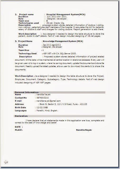 Fresher Resume format Online M Tech Resume format Resume Templates