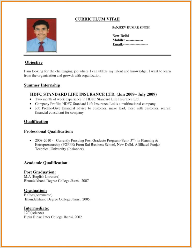 Fresher Resume Format Pdf Download Resume Format For Bank Jobs Freshers Word Banking Sample