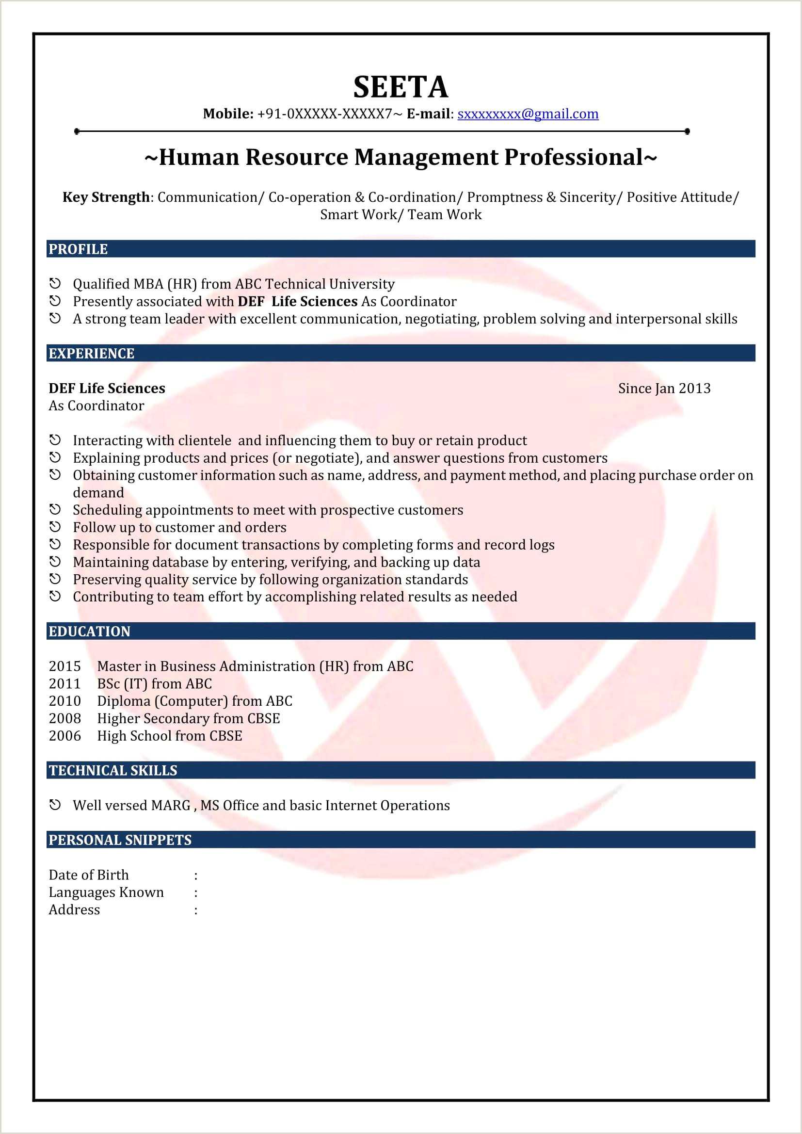 Fresher Resume format Pdf File Beautiful Mba Fresher Resume format Pdf