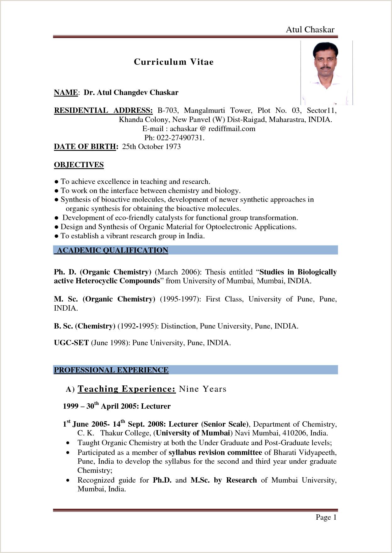 Fresher Resume format Pdf India Part 2 Resume format Examples