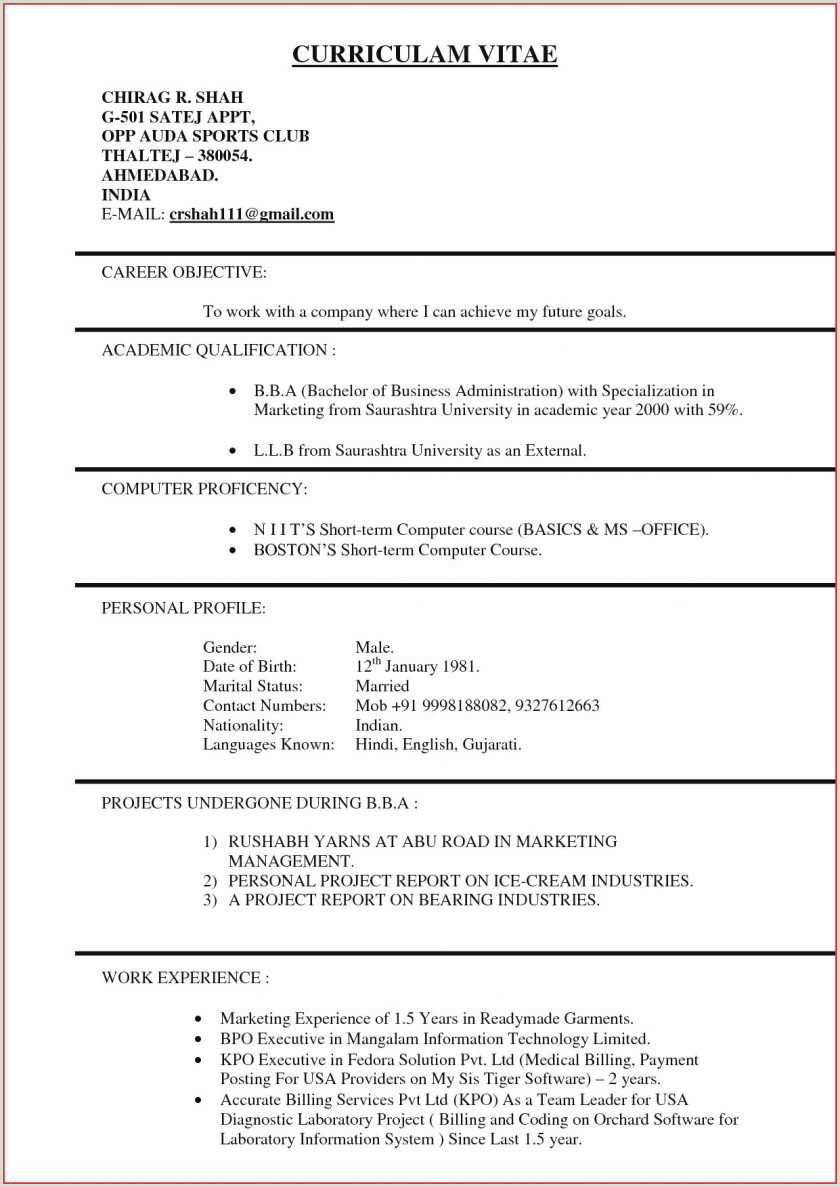 Fresher Resume format Pdf India Resume format for Marketing Student top Samples Freshers