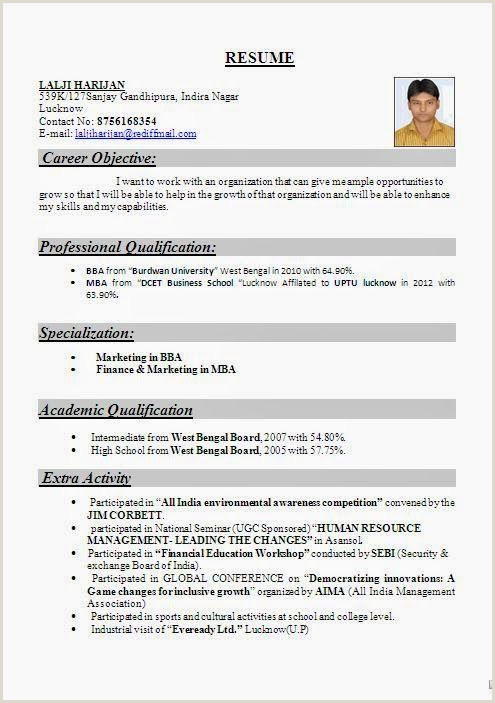 Fresher Resume format Sample Image Result for Resume format Freshers