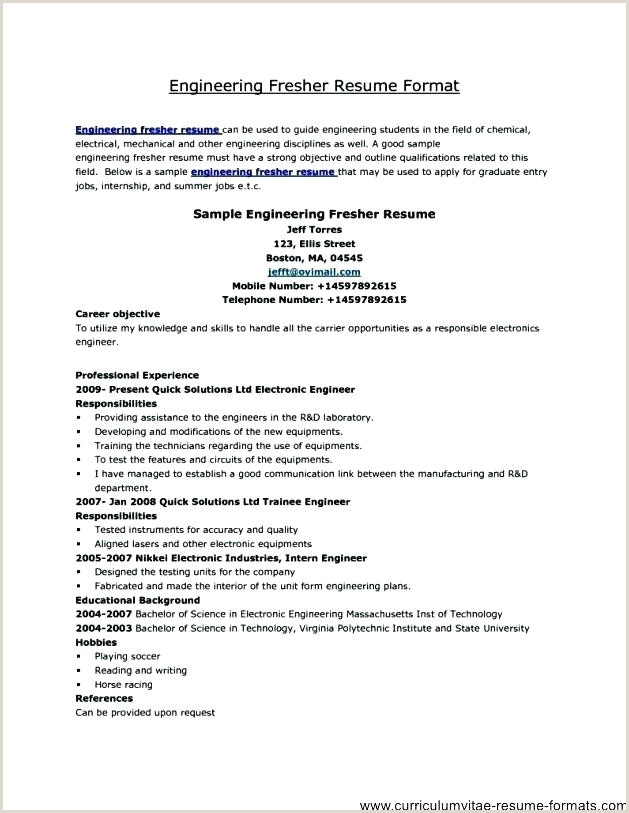 Fresher Resume format Simple Best Engineering Resume