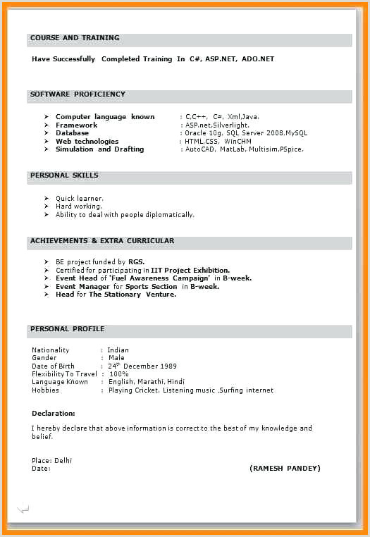 Fresher Resume format Simple Freshers Resume Samples – Growthnotes