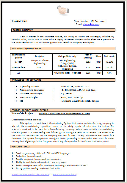 Fresher Resume format with Project Details B Tech Fresher Resume Examples Examples Fresher Resume