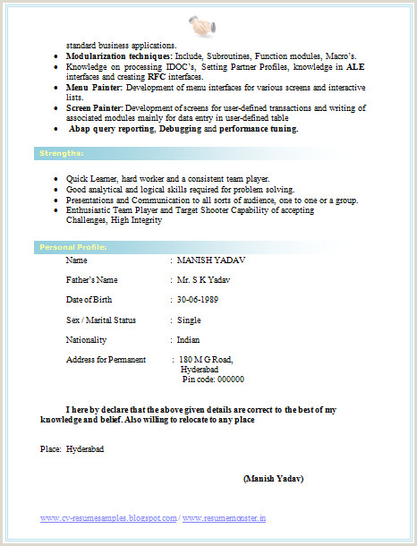 Fresher Resume Format With Project Details Cv Format For Bsc 2 Career