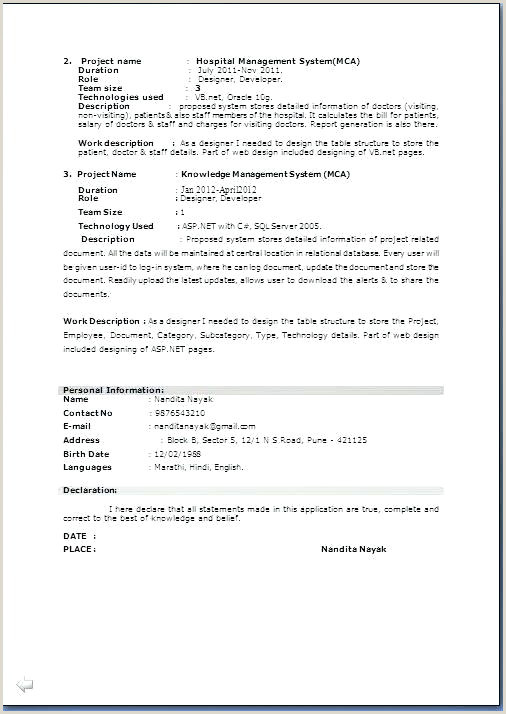 Fresher Resume Format With Project Details Resume Format In Ms Word – Thrifdecorblog
