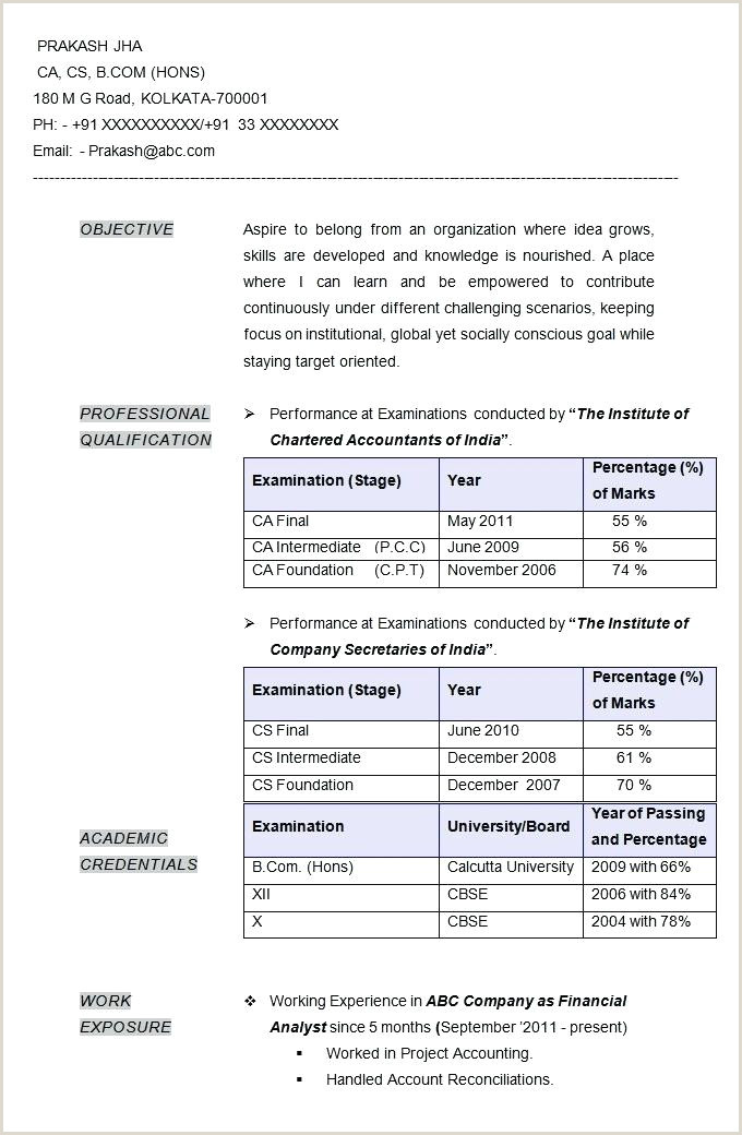 Fresher Resume Format With Project Details Resume Format It Professional – Wikirian