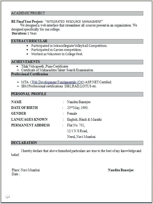 Fresher Resume Format Word File Download Best Resumes Format – Joefitnessstore