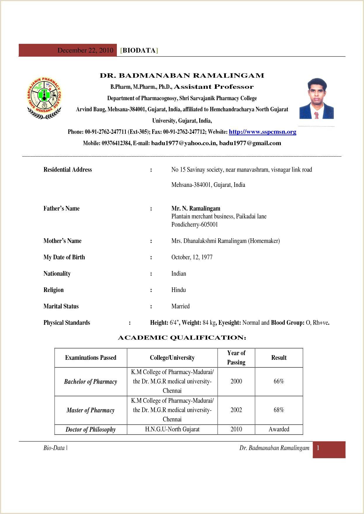 Fresher Resume Mail format D Pharmacy Resume format for Fresher