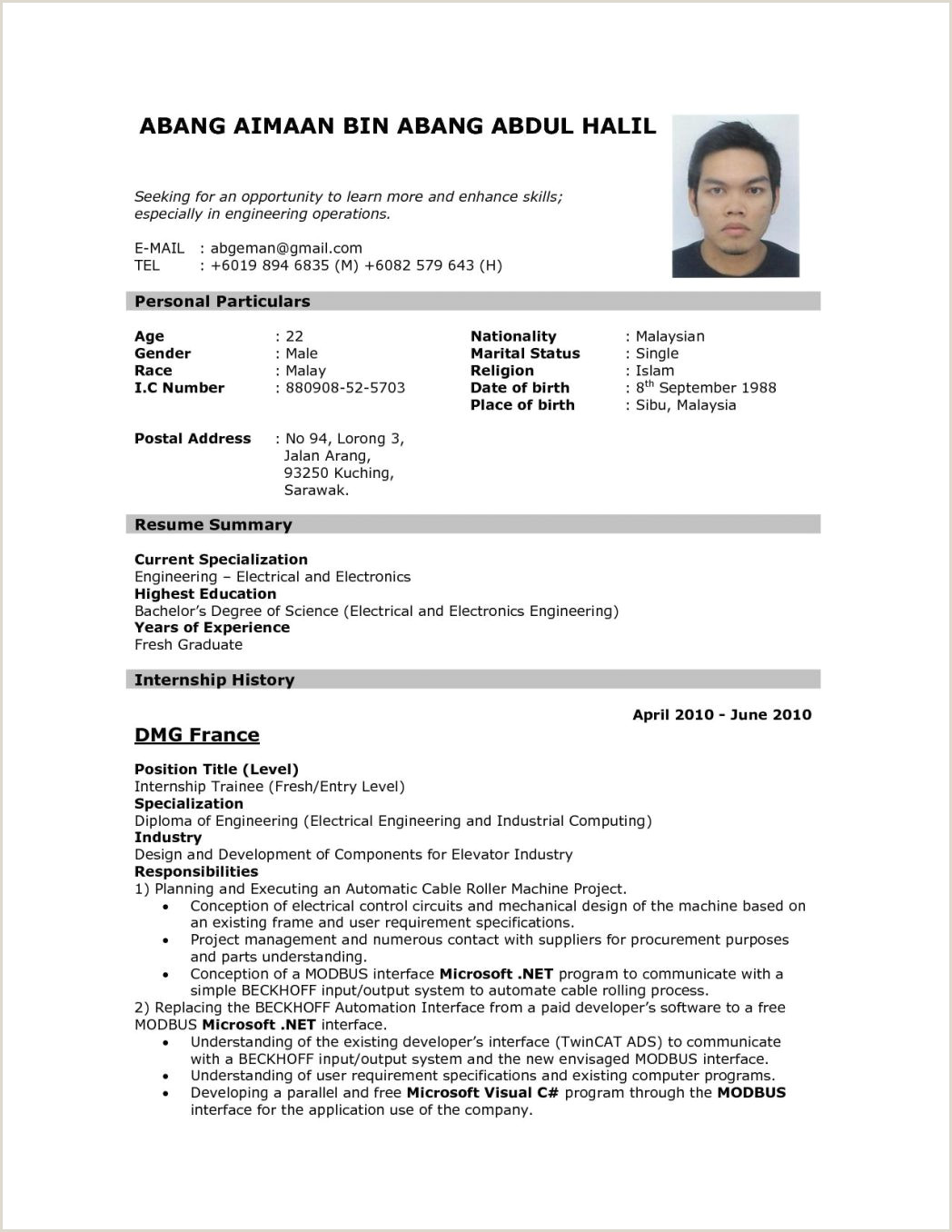 Fresher Resume Mca format format Sample It 313b9bba954c3d Bfb5135cae22