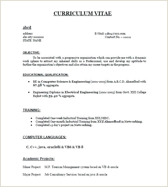 Fresher Resume Mca format Related Post Good Resume Templates for Freshers Best format