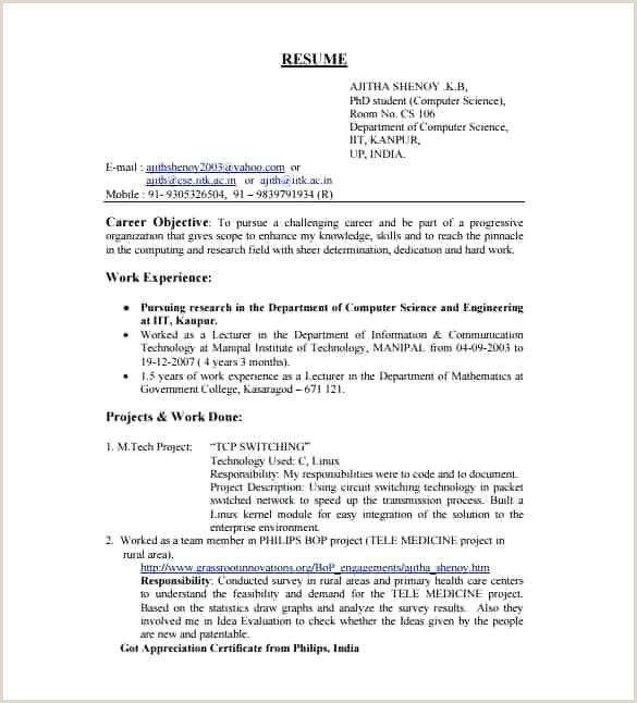 Fresher Resume Sample Doc It Engineer Cv Template