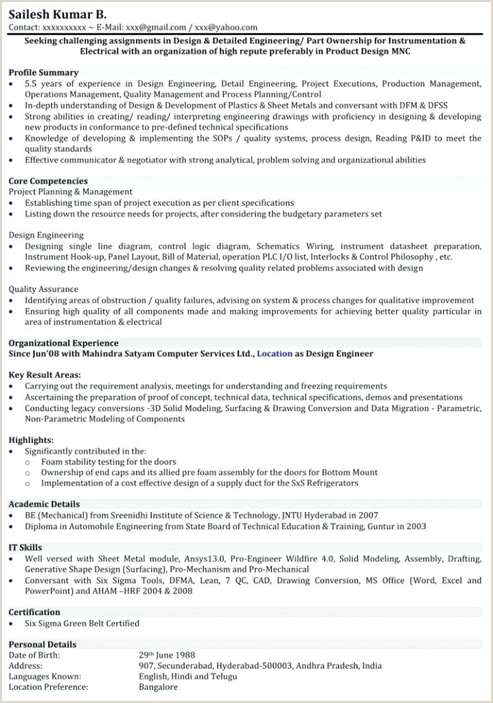 Fresher Resume Sample format for Engineers Mechanical Engineer Resume Examples – Emelcotest