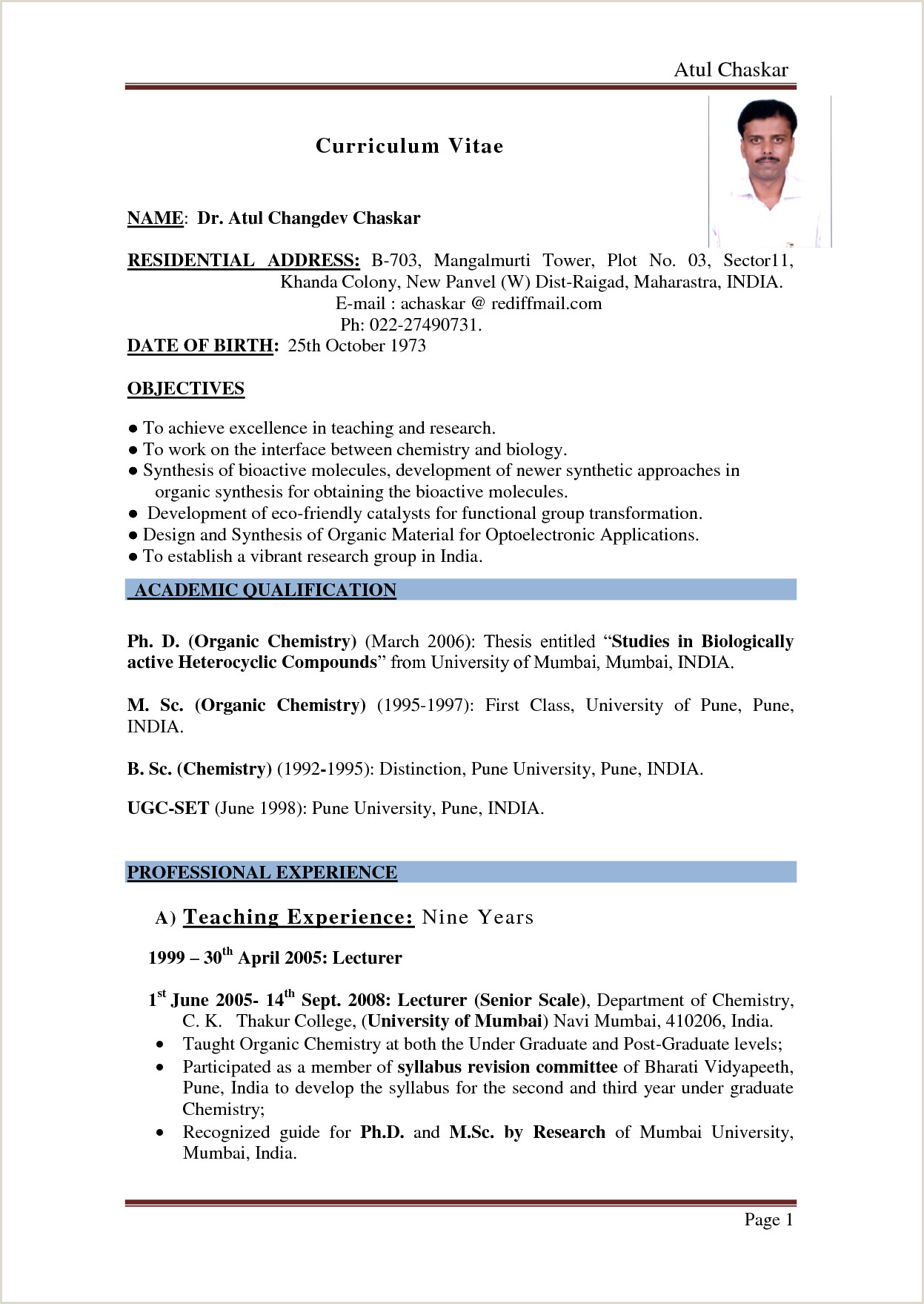 Fresher Teacher Cv format In Word Part 2 Resume format Examples