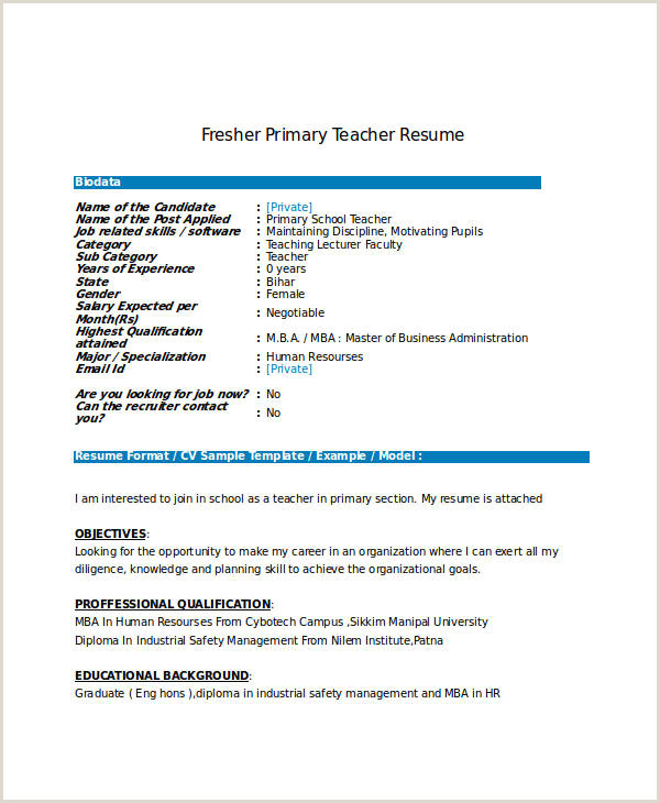 Fresher Teacher Cv format Pdf Simple Resume format for Mba Freshers