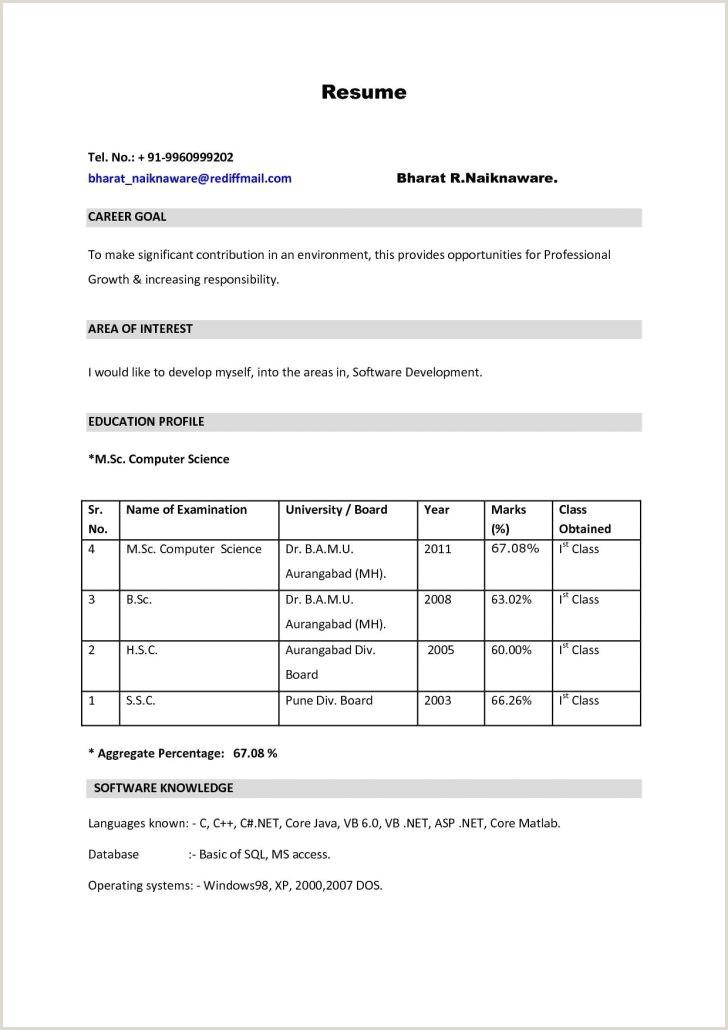 Fresher Teacher Cv Format Teacher Resume Cover Letter New For Fresher Job Application