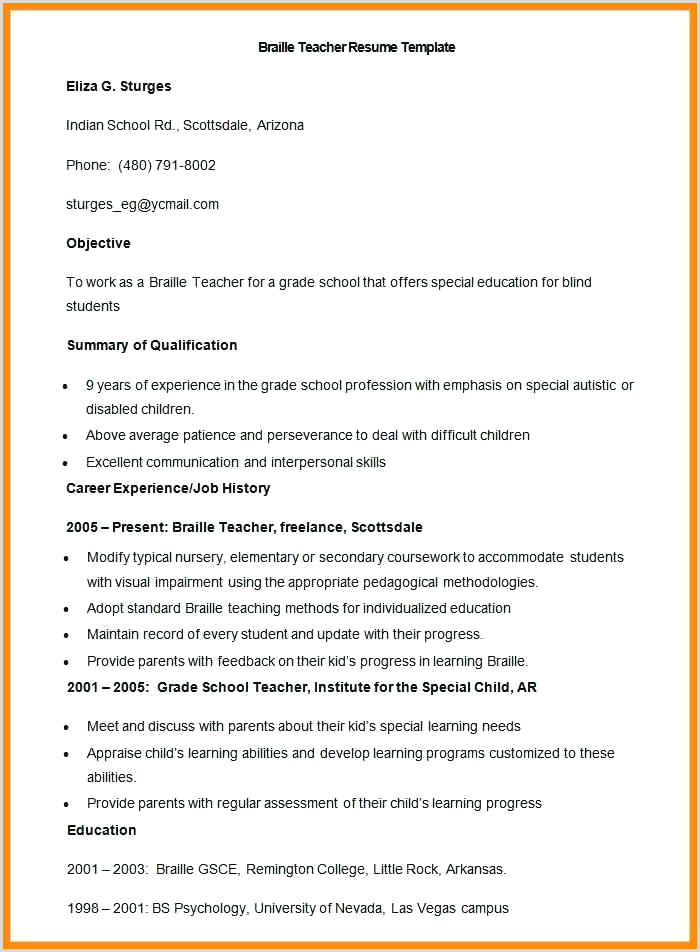 Fresher Teacher Resume format Doc Download Latest Resume Templates Word Cv Free Download 2019 format