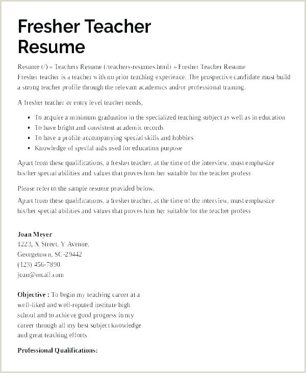 Fresher Teacher Resume format Doc Download Resume Template Teachers – Hostingpremium