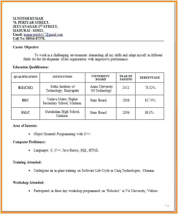 Fresher Teacher Resume Format Doc India Resume Format Job Interview Resume Format