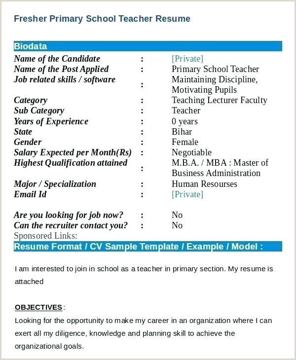 Fresher Teacher Resume Format Doc India Teaching Resume Templates