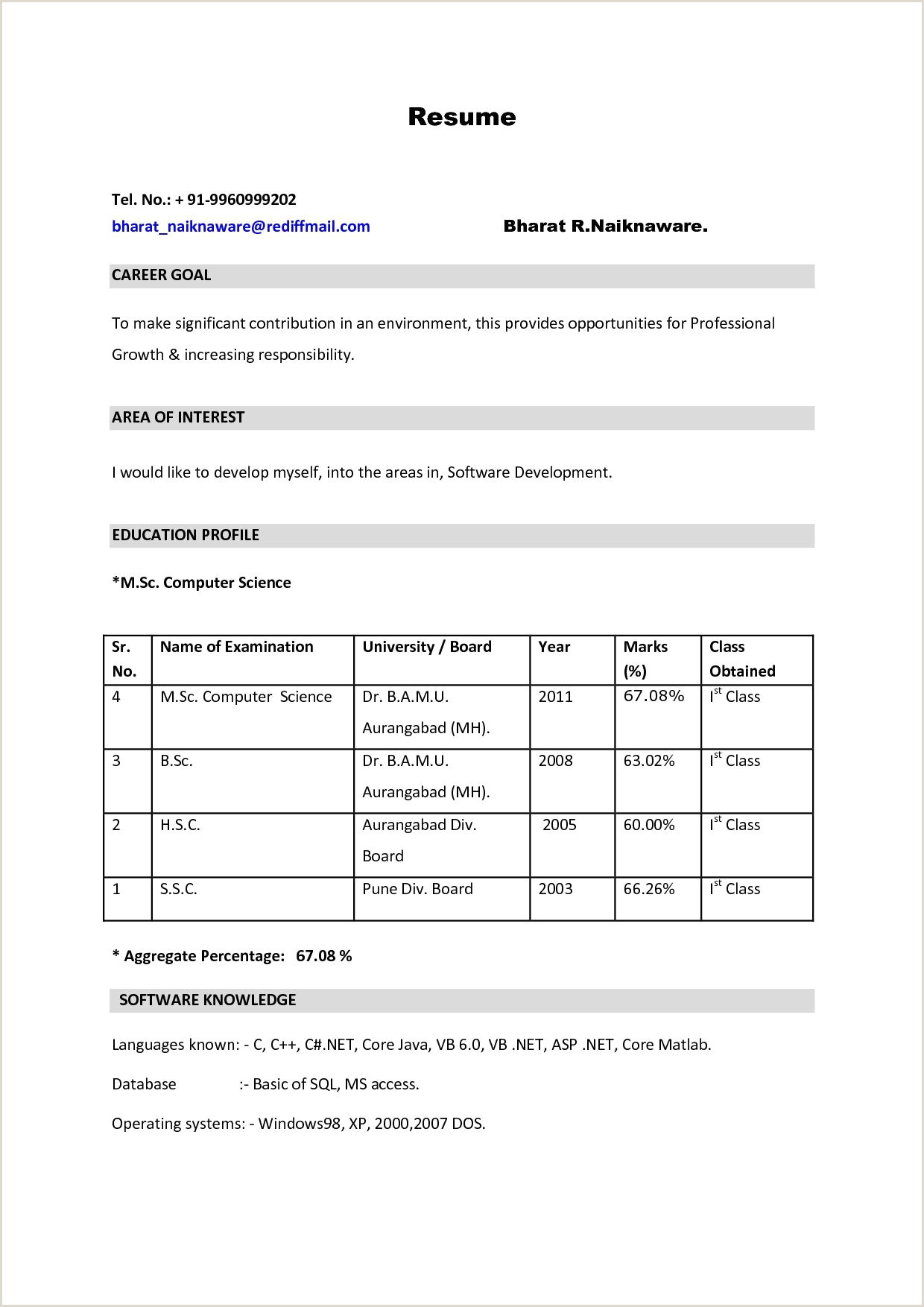 Fresher Teacher Resume format Pdf Resume format Samples and Templates for All Types Resumes