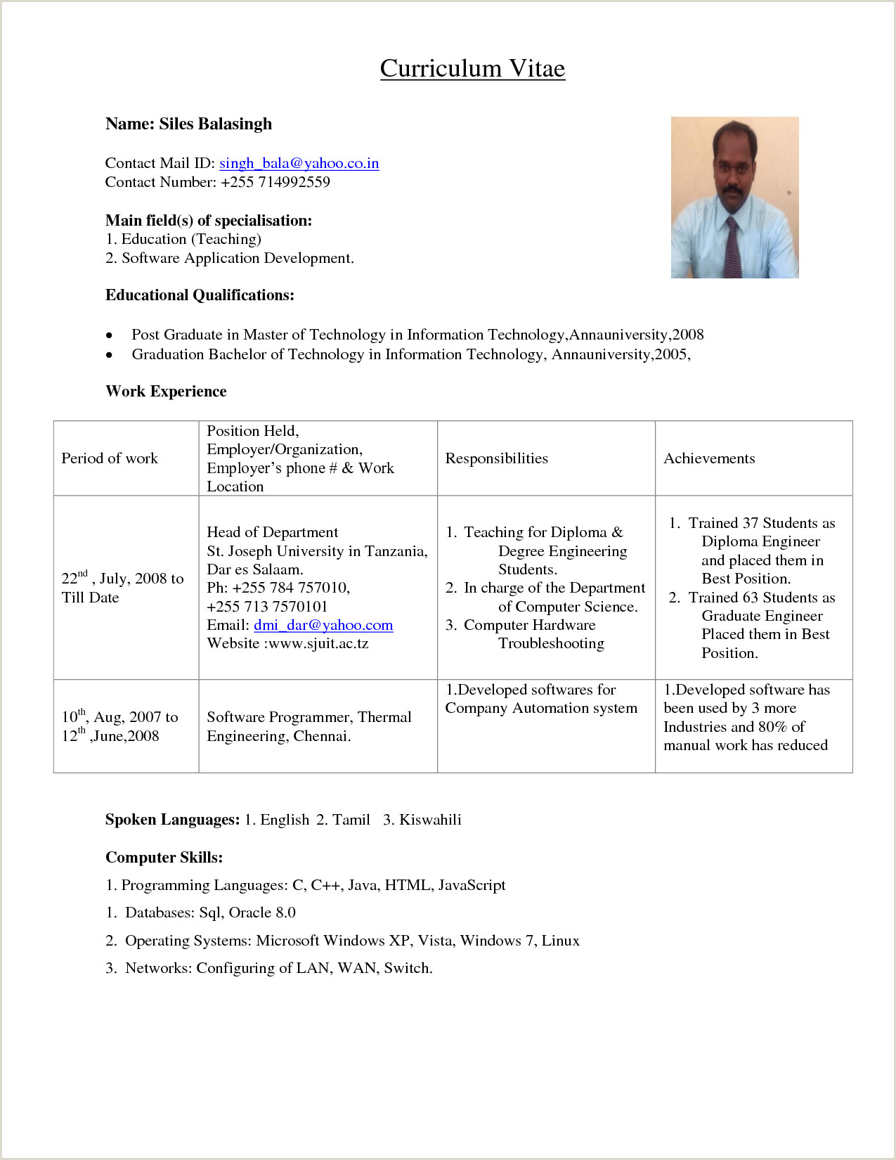 Fresher Teacher Resume format Pdf Teacher Resume Fresher Filename Cover Letter for It Job 10