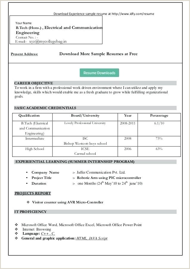 Freshers Resume format Download In Ms Word with Photo Sample Resumes – Growthnotes