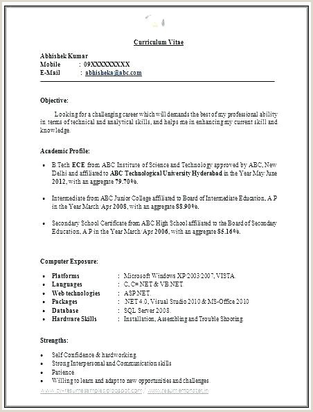 Freshers Resume format Engineers Sample Resume for Freshers Pdf – Englishor