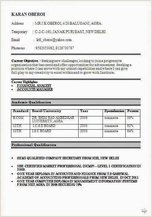 Freshers Resume Format For Commerce Accounts Resume Fresher Resume Resume Templates And