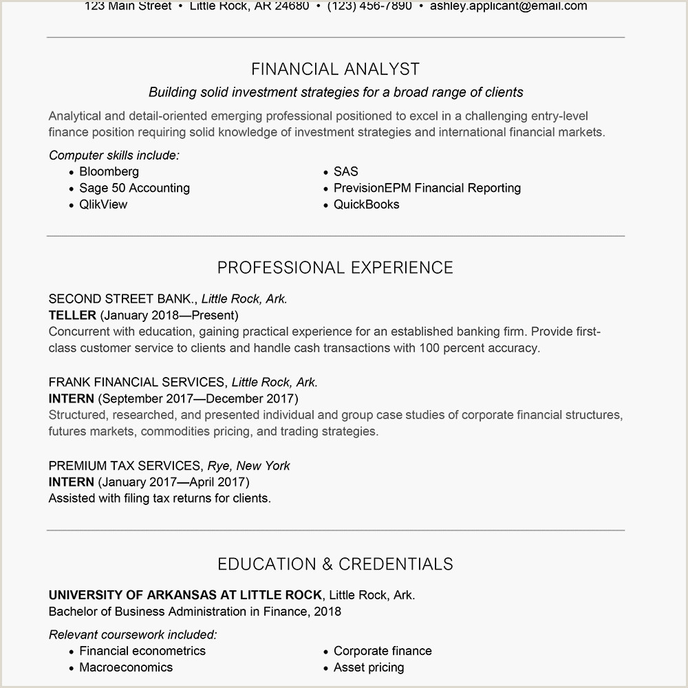Freshers Resume format for Commerce Entry Level Finance Cover Letter and Resume Samples
