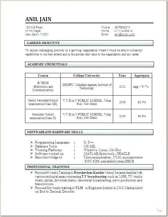 Freshers Resume format for Commerce Resume format Fresher – Englishor